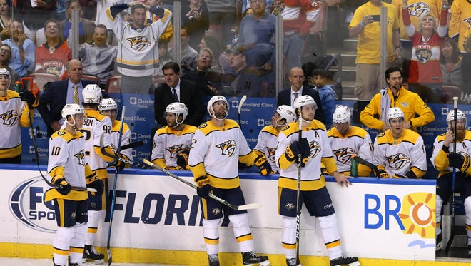 April 3: The Nashville Predators react as the game tying goal was disallowed with one second left in the third period of a game against the Florida Panthers at BB&T Center.
