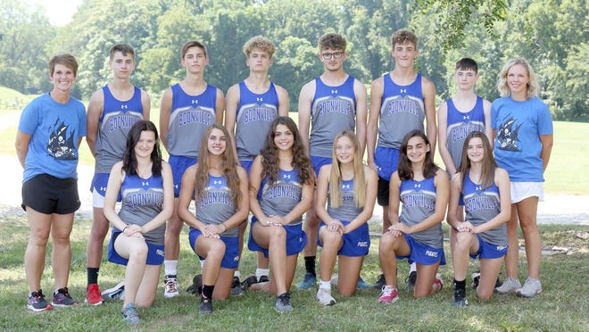 Boonville boys and girls cross-country team (front row, left to right) Jordan Birk, Rachel Massa, Daylynn Baker, Alison Eichelberger, Emily Gibson and Hailee Williams. (second row, left to right) Assistant coach Becky Eckerle, Austin Rice, Austin Coleman, Ryan Jones, Hayden Alley, Brayden McFarland, Hayden Williams and head coach Melissa Baker. (Chris Bowie/Boonville Daily News).