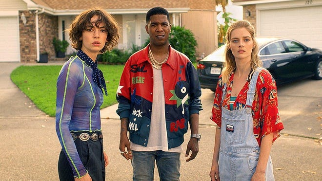 "From left, Brigette Lundy-Paine, Kid Cudi and Samara Weaving star in ""Bill & Ted Face the Music."""