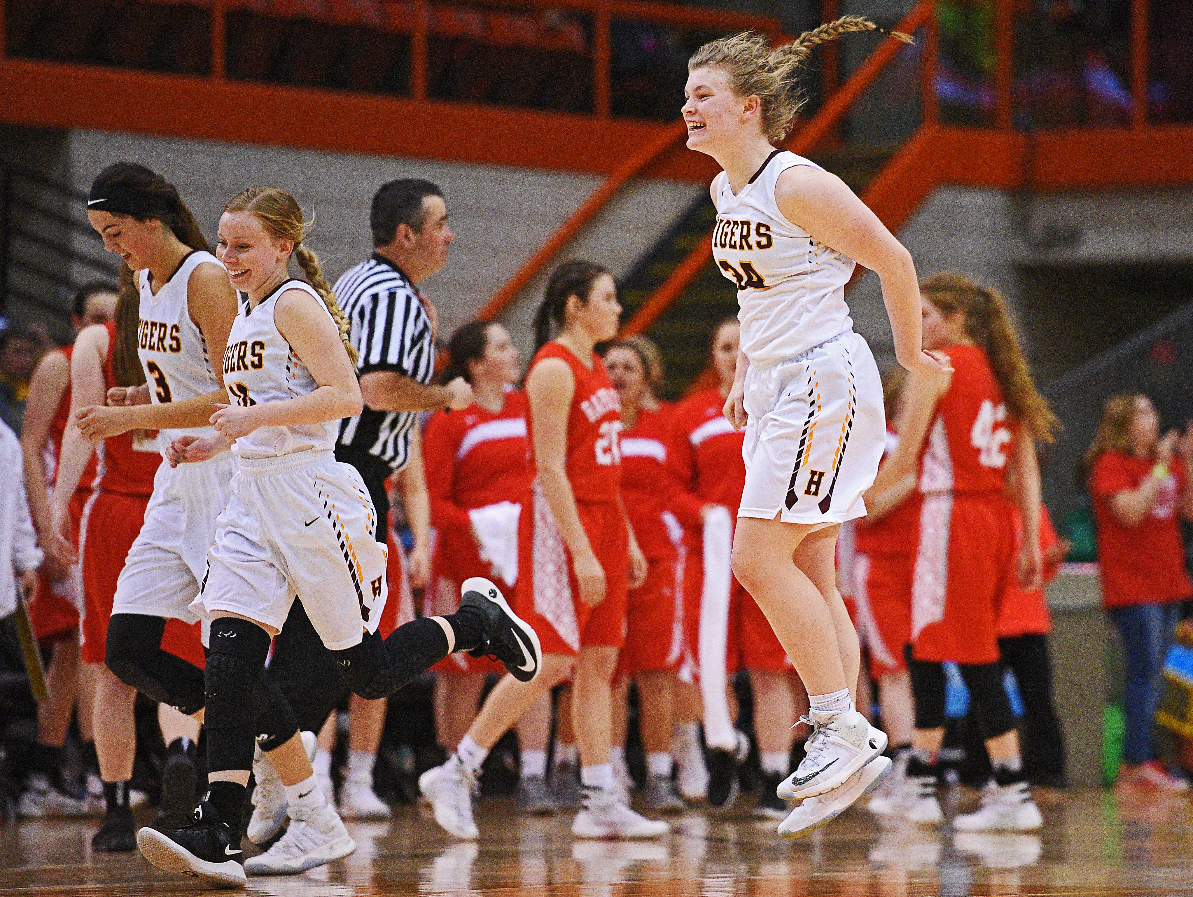 Harrisburg's Sydney Halling (34) reacts after their 49-44 win over Rapid City Central in a 2017 SDHSAA Class AA State Girls Basketball semifinal game Friday, March 17, 2017, at Rushmore Plaza Civic Center in Rapid City.