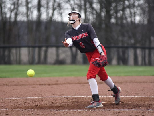 Sophomore pitcher Sydney Campolo fires a pitch toward the plate during the seventh inning of Sheridan's 5-4 win against visiting Philo on Wednesday.