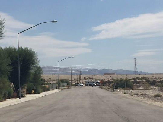 Law enforcement have set up a staging area near the end of Vista del Norte in Coachella.