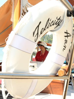 Captain Nahja Chimenti, of the sailing vessel the Felicity Ann, leads a tour of the historic boat at the Poulsbo Marina on Tuesday. The Felicity Ann was sailed by Ann Davison, the first woman to make a solo Atlantic crossing in 1952-53.