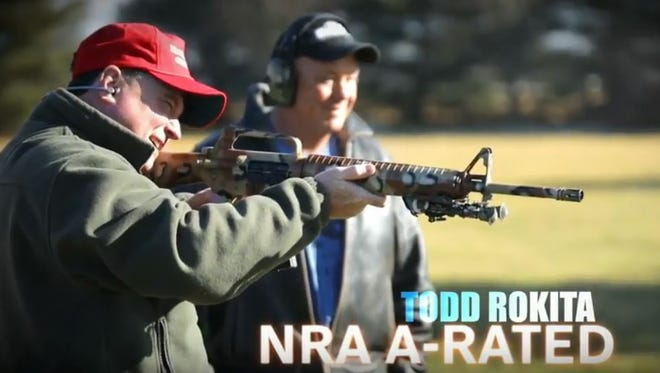 In this scene from his a Senate ad that first aired Feb. 28, U.S. Rep. Todd Rokita shoots an assault-style rifle and touts his A-rating from the National Rifle Association.