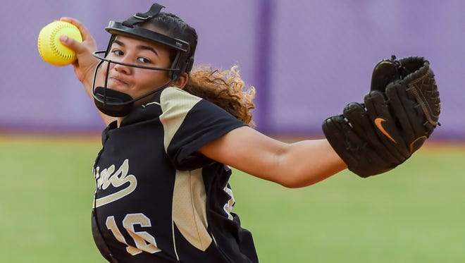 Treasure Coast's Brianna Thomas (16) pitches Friday, April 27, 2018, during her team's high school softball game against Vero Beach at Fort Pierce Central High School. To see more photos, go to TCPalm.com.