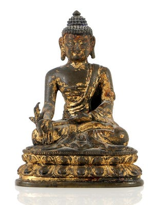 Dr. Henry Heimlich passed away in December. Items from his estate are up for sale with Everything But The House, a Cincinnati-based auction company. Pictured is a Sino-Tibetan Bronze Buddha Statue.