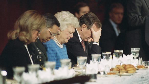 President George H.W. Bush, along with First Lady Barbara