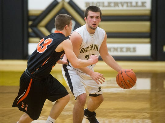Biglerville's Noah Ayers dribbles up the court against