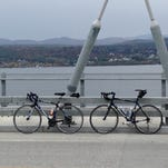 Bicycles on the Lake Champlain Bridge between Addison and Crown Point, N.Y.