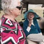 Former First Lady Barbara Bush chatted with visitors to Cape Arundel GC in Kennebunkport.