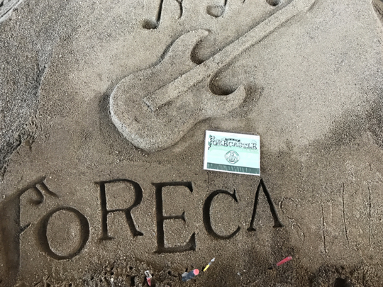 A sand sculpture created by Louisville artist Les Terwilleger at Forecastle Festival 2017.