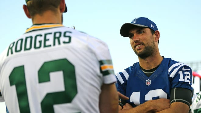 Aaron Doster/USA TODAY Sports Indianapolis Colts quarterback Andrew Luck, right, talks with Green Bay Packers quarterback Aaron Rodgers prior to the Hall of Fame Game. Indianapolis Colts quarterback Andrew Luck, right, talks with Green Bay Packers quarterback Aaron Rodgers prior to the Hall of Fame Game.