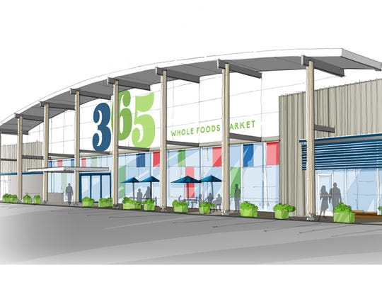 A rendering shows what the Whole Foods 365 stores will