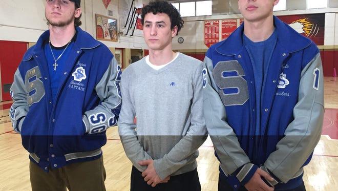 L to R: Sayreville's Jayson DeMild, Joe Polomene and Kyle Richards