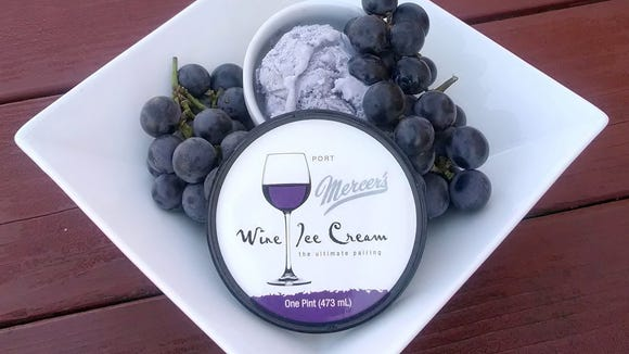 A photo of a new port wine ice cream provided by Mercer's