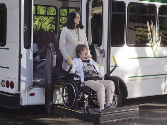 handicapped bus stock