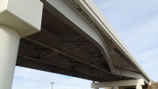 A bridge in Ohio, one of the states taking part in the research, shows damage from a truck strike. Photo provided by Ohio Department of Transportation.
