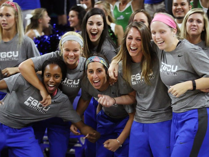 FGCU players celebrate Monday during the team's NCAA