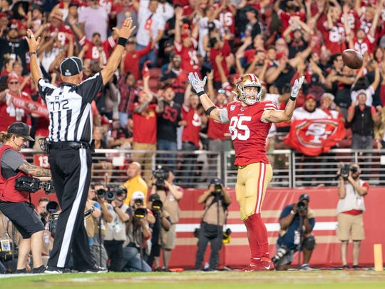 October 7, 2019; Santa Clara, CA, USA; San Francisco 49ers tight end George Kittle (85) celebrates after scoring a touchdown against the Cleveland Browns during the third quarter at LeviÕs Stadium. Mandatory Credit: Kyle Terada-USA TODAY Sports