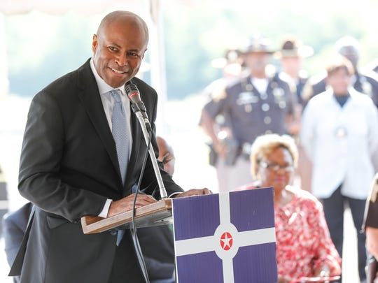 City-County Council President Vop Osili speaks during the groundbreaking ceremony for the new Community Justice Campus in the Twin Aire neighborhood of Indianapolis on Thursday, July 12, 2018. The campus will house the new jail, courthouse, Sheriff's Office, and an Assessment and Intervention Center.