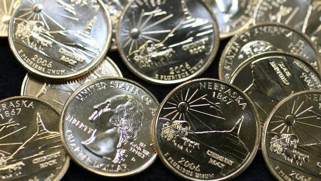 Freshly-minted copies of the Nebraska quarter.