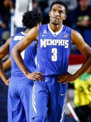 Dejected University of Memphis guard Jeremiah Martin