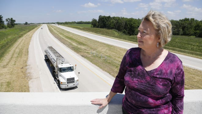 Shirley Phillips of Sac City, president of the U.S. 20 Corridor Association, is among those pushing to upgrade the final section of U.S. 20 from two to four lanes in northwest Iowa. When the last 30-mile stretch is finished, U.S. 20 will be a four-lane expressway between Sioux City and Dubuque while passing through Waterloo.
