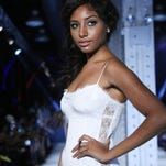 A model wearing K. Milele during Harlem's Fashion Row 7th Annual Fashion Show And Style Awards at The Waterfront on September 6, 2014 in New York City.