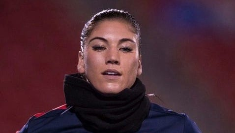USA goalkeeper Hope Solo (1) before the match against the Canada women's team at Toyota Stadium.