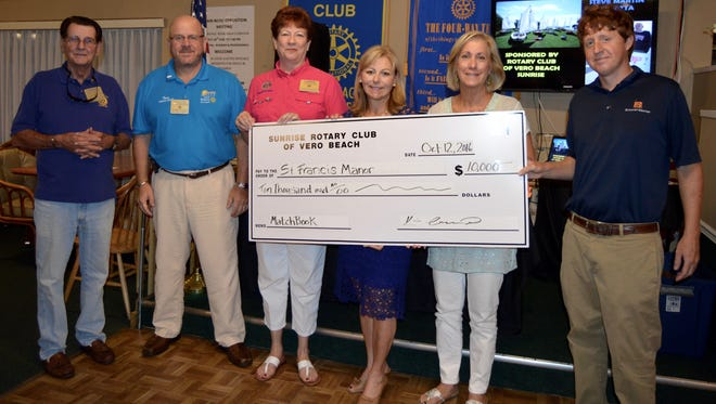 Rotarian Brian Carman; Sunrise Rotary President Kevin Anderson; Linda Scott, Rotarian and executive director of St. Francis Manor; and St. Francis Manor's board members Maria-Elena Kitchell, Linda Colontrelle and Louis Schacht