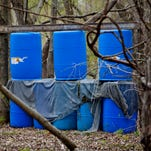Dozens of bunkers are scattered throughout the nearly five-acre course of open fields and woods at Dead on Sight Paintball on Hewitt Road in Jeddo.