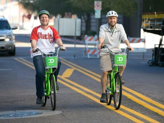 Phoenix Mayor Greg Stanton (left) and Marc Adams, a