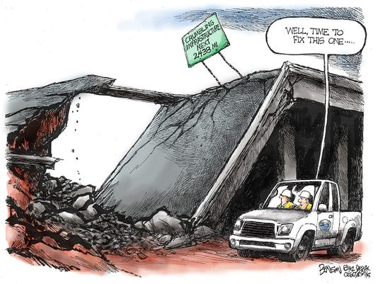 Benson cartoon - bridge collapse