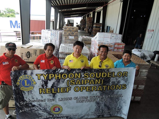Guam's Lions Clubs worked to get a 20-foot container full of relief goods for Typhoon Soudelor recovery in Saipan.