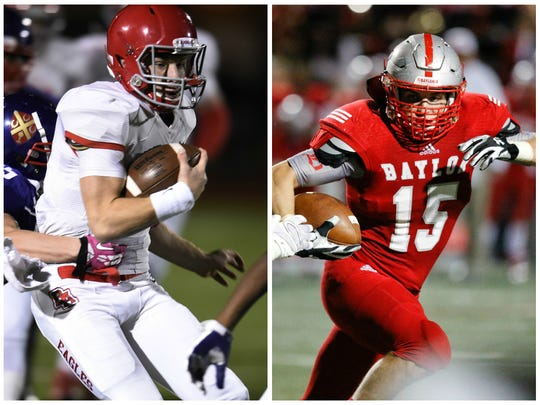 Brentwood Academy junior QB Jeremiah Oatsvall (left) and Baylor senior LB Ryan Parker (right).
