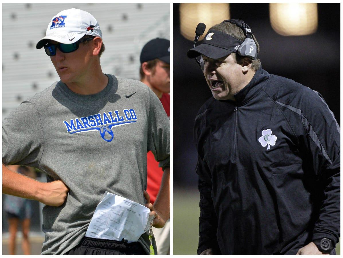 Marshall County coach Thomas Osteen (left) and Knoxville Catholic coach Steve Matthews.