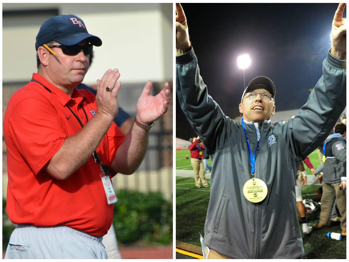 Brentwood Academy coach Cody White (left) and Montgomery Bell Academy coach Marty Euverard.