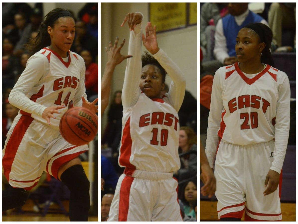 East Nashville sophomore Kaia Upton (14), senior Le'jzae Davidson (10) and junior Erica Haynes-Overton (20) have been key to the Lady Eagles' success.