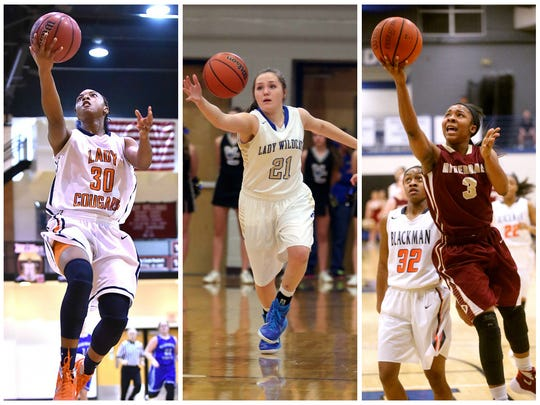 Dickson County's Lea Lea Carter (30), Wilson Central's Kendall Spray (21) and Riverdale's Anastasia Hayes (3).