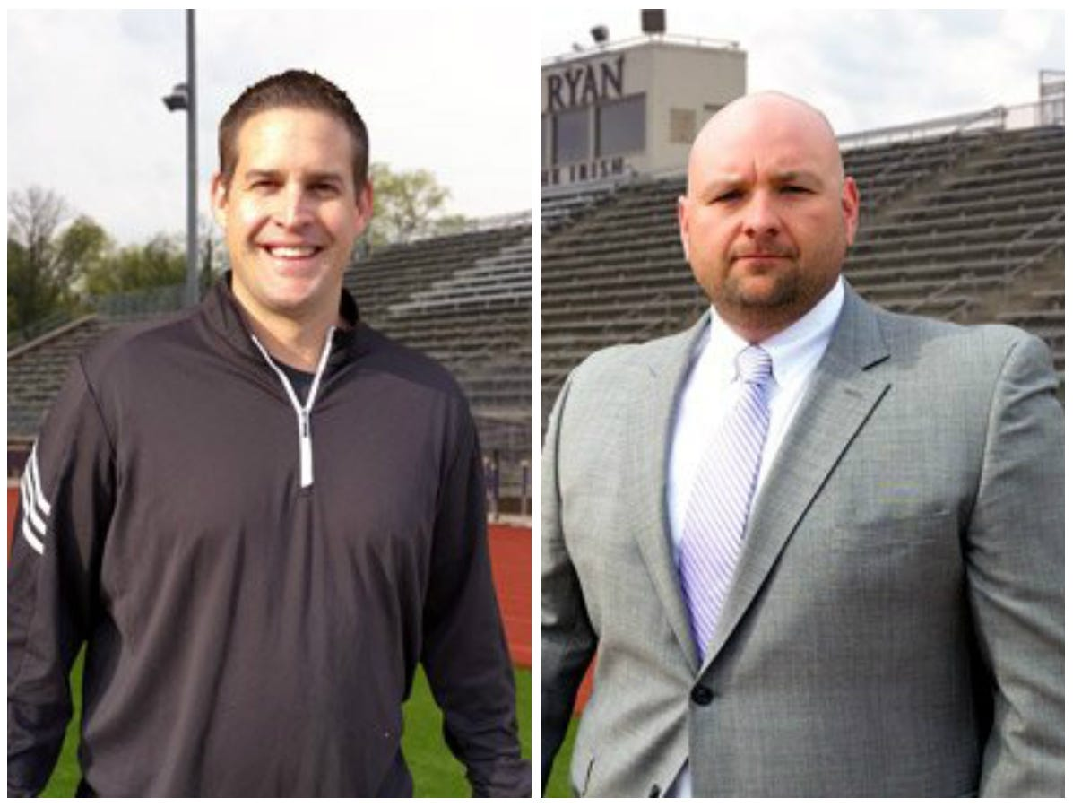 Former Centennial coaches Brett Taveau (left) and Wade Privett (right) have joined Brian Rector's coaching staff at Father Ryan.
