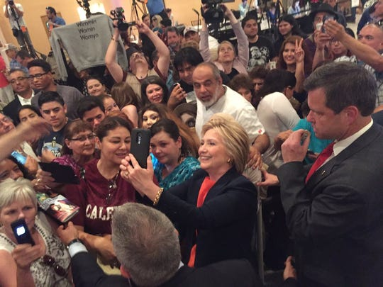 Hillary Clinton takes selfies at a rally in El Centro Thursday, June 2, 2016.