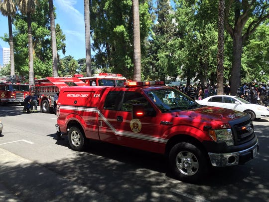 Sacramento Fire Department triaged multiple stabbing victims after a protest turned violent on the grounds of the California Capitol June 26, 2016.