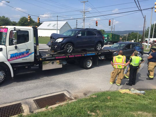 Two people were injured in a crash at a Penn Township