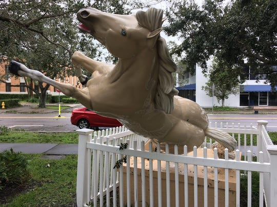 Patriot, the mascot horse statue at Pocahontas Park in Vero Beach, became dislodged from his post during Hurricane Matthew in October 2016.