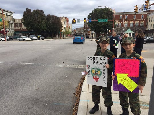 Two members of the Hanover Area Young Marines take