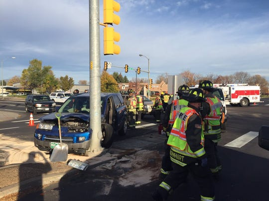 Southbound College Avenue is closed after a two-vehicle crash Monday morning.