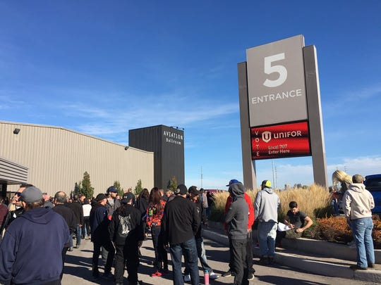 Ford Canada workers who are members of Unifor get ready to vote at Unifor Local 707 in Oakville Ontario on Nov. 6, 2016.