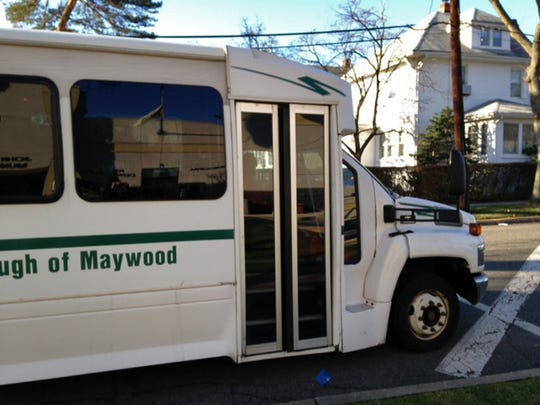 The Maywood shuttle bus outside Maywood Borough Hall. A growing number of North Jersey towns provide senior transportation.