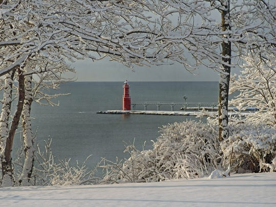 Algoma's lighthouse, in January.