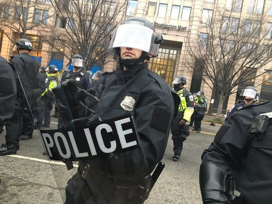 Police take to the streets in riot gear during protests in Washington, D.C., on Inauguration Day. Amanda J. Cain photo.